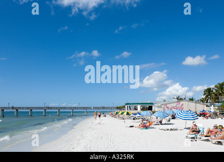 Beach and pier in the resort centre, Fort Myers Beach,  Gulf Coast, Florida ,USA - Stock Photo