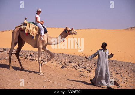 Horizontal portrait of girl riding camel on desert safari in Egypt, North Africa - Stock Photo