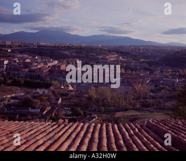 View over the Segovian countryside and Castillian plain from the Parador, Segovia, Spain - Stock Photo