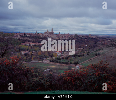 View over the Segovian countryside and Castillian plain from the Parador, Segovia, Spain - Stock Photo