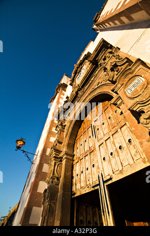 MEXICO San Miguel de Allende Open wooden doors exterior and bell towers of Church of San Francisco - Stock Photo