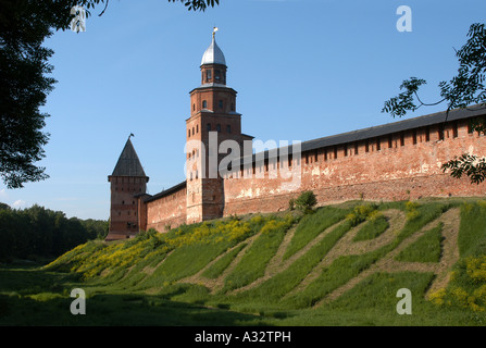 Funny inscription in the foot of the fortress walls and watchtowers of Novgorod Kremlin in Veliky Novgorod, Russia. - Stock Photo