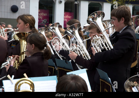 camborne town band playing in the town on trevithick day in camborne,cornwall,england - Stock Photo