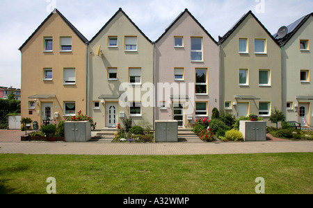 Terraced houses in the solar community in Gelsenkirchen, Germany - Stock Photo