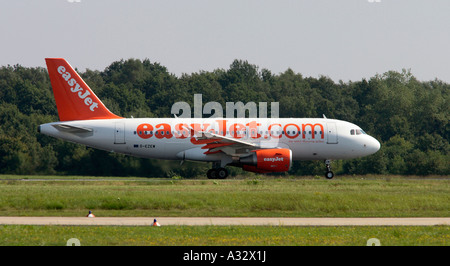 An easyJet plane at the Cologne Bonn Airport, Germany - Stock Photo