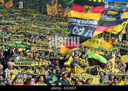 Fans of the Borussia Dortmund football club, Dortmund, Germany - Stock Photo
