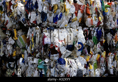Plastic packaging at a recycling centre in Dusseldorf, North Rhine-Westphalia, Germany. - Stock Photo