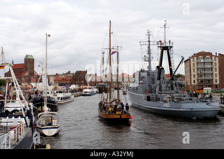 The harbour in Wismar, Germany - Stock Photo