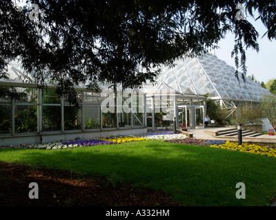 tropical house in Grugapark Essen North Rhine-Westphalia Germany - Stock Photo