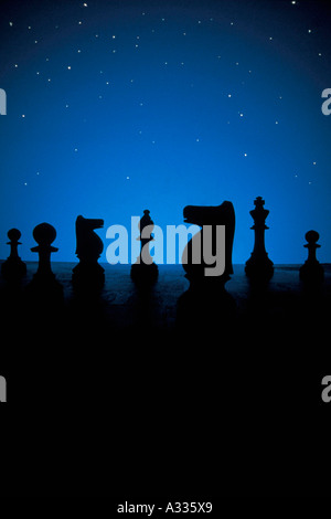Chess pieces and stars - Stock Photo
