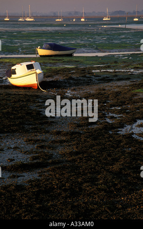 Beached Boats, Chichester Harbour, Emsworth, Hampshire, England - Stock Photo
