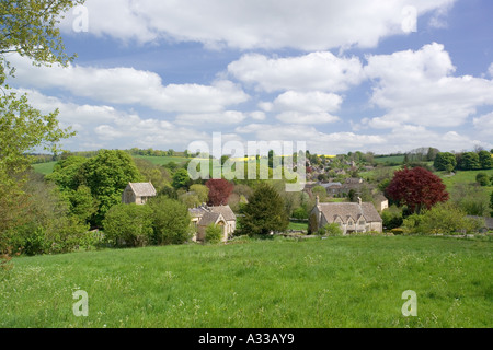 The Cotswold village of North Cerney in the valley of the River Churn, Gloucestershire - Stock Photo