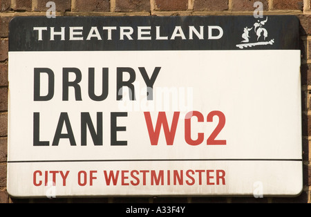 """Covent Garden""  west central London England  Theatreland 'street sign' for 'Drury Lane' [City of Westminster] - Stock Photo"