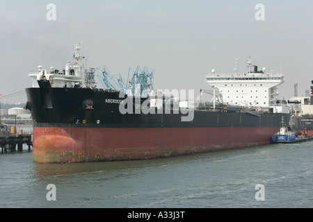 aberdeen oil petrol tanker docked at fawley refinery southampton hythe england - Stock Photo
