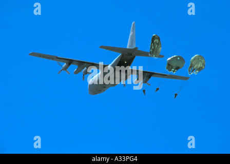 C13 Hercules drops paratroopers 26D - Stock Photo