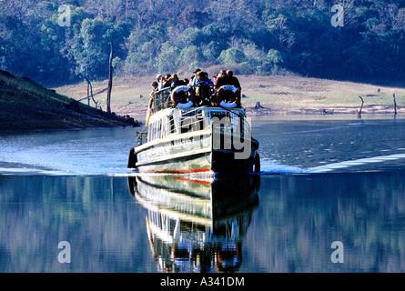 BOATING IN PERIYAR TIGER RESERVE THEKKADY KERALA - Stock Photo