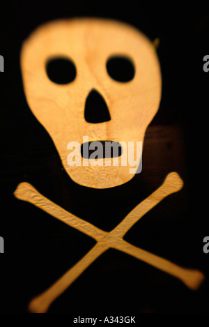 An original 'Jolly Roger' pirate flag, on display at PIRATE SOUL museum in Key West, Florida. - Stock Photo