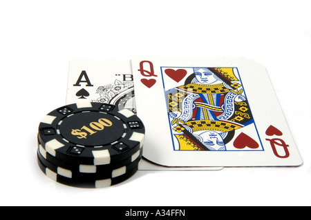 game cards and poker chips - Stock Photo
