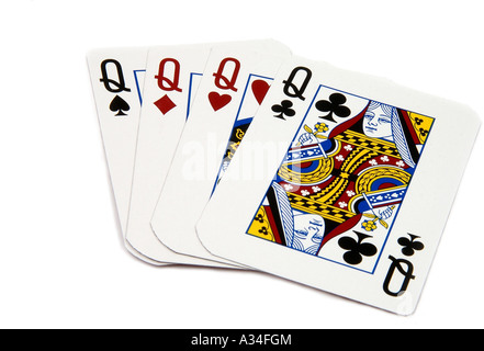 one of the highest poker hands, four queens - Stock Photo