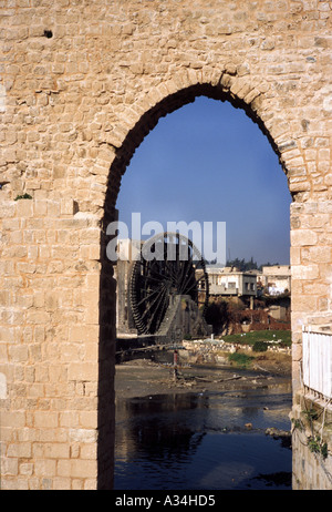 View of an ancient water wheel at Hama Syria - Stock Photo