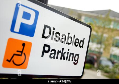 British royalty free photograph of UK disabled sign at business car park London - Stock Photo