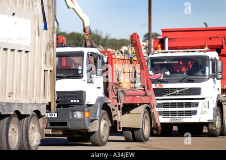 Royalty free photograph of lorries arriving at UK landfill site in London - Stock Photo