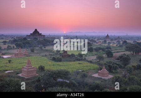 Dawn over the temples of Bagan Myanmar - Stock Photo