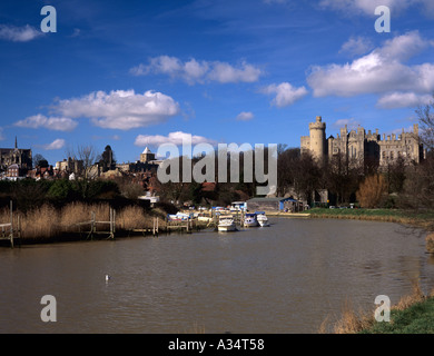 ARUNDEL TOWN and CASTLE from along the River Arun with the cathedral in view Arundel West Sussex England UK