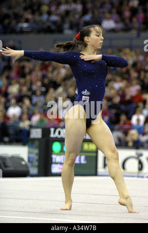 elizabeth  beth tweddle british number one female gymnast competing on floor - Stock Photo