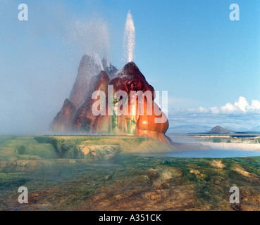Mounds formed by the accumulation of minerals atop man made water geysers in Black Rock Desert Nevada - Stock Photo