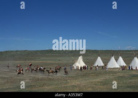 Indian encampment at the Little Bighorn Custer battle re enactment Crow Agency lands near Hardin Montana USA - Stock Photo