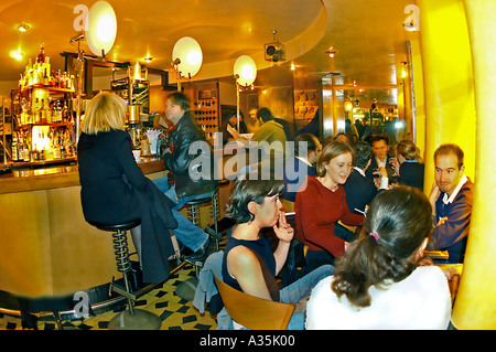 PARIS France, Adults Chatting in Trendy Bar 'L'Endroit' in Batignolles Area Inside Night Pub - Stock Photo