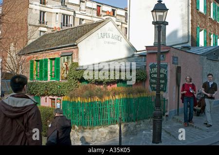Paris France, Butte Montmartre Area, 'Lapin Agile Cabaret' Tourists Visiting - Stock Photo