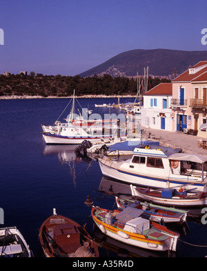 Greece Ionian Islands Kefallonia Fishing boats Fiskardo village - Stock Photo