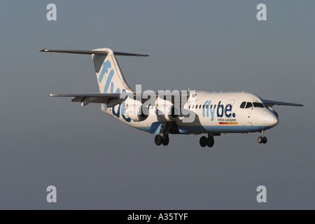 Flybe Bae 146 jet airliner low cost budget airline coming in to land taken 2006 - Stock Photo