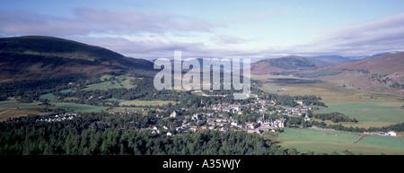 Braemar Village from the Lion's Crag, Royal Deeside. Aberdeenshire. Grampian Region. Scotland.  GPAN 0034 - Stock Photo