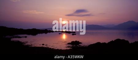 Sunset over the Black Cullins from Tarskavaig, Isle of Skye, Scottish Highlands.  GPAN 0037 - Stock Photo