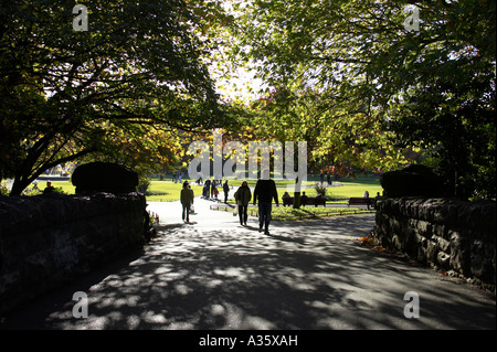 people walking over the stone o connell bridge beneath trees in st Stephens Green Dublin City Centre - Stock Photo