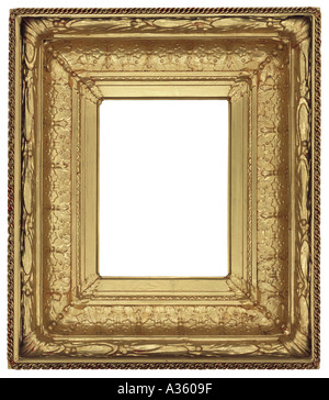 0495fde478c A vertical thick gold gilded shiny rectangular decorative ornate antique  frame - Stock Photo