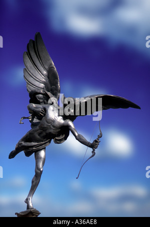 statue of Eros Piccadilly Circus London England - Stock Photo