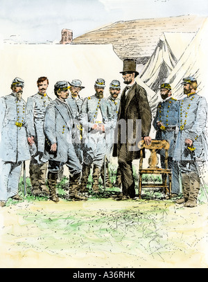 President Abraham Lincoln meeting with General George McClellan at his Antietam field headquarters  1862. Hand-colored - Stock Photo