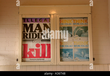 Mining safety notices at Big Pit National Coal Museum Blaenavon South Wales UK - Stock Photo