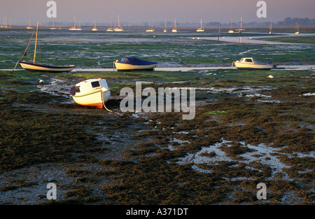 Stranded Fishing Boats, Chichester Harbour, Emsworth, Hampshire, England, UK - Stock Photo
