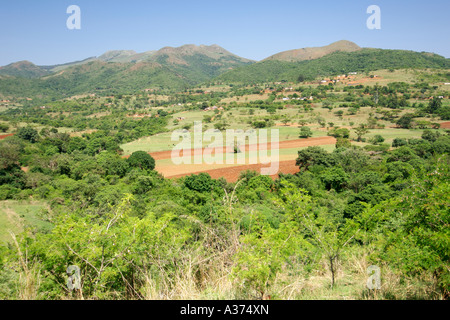 Scenery about 20km north of Piggs Peak in the Hhohho district of Swaziland - Stock Photo