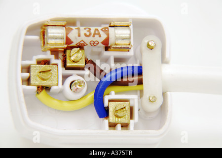 Correctly Wired UK Three Pin Mains Plug showing colour coded wires Brown Live Blue Neutral Green and Yellow Earth - Stock Photo