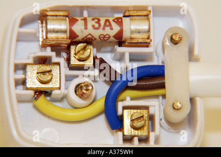 Correctly Wired UK Three Pin Mains Plug showing colour coded wires Brown Live Blue Neutral Green and Yellow Earth