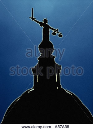 The scales of justice at the Old Bailey - Stock Photo