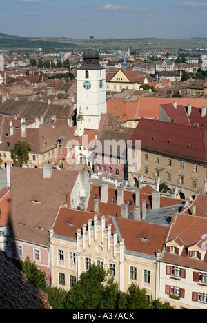 ROMANIA SIBIU. 2007 European Capital of Culture. Old Town, historic center, Piata Mica. - Stock Photo