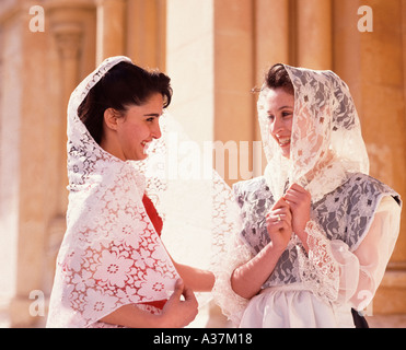 Women in National Dress, Mdina, Malta - Stock Photo