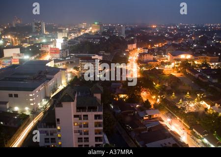 Thailand nightlife downtown dusk lights urban night view lamp apartment shine reflection - Stock Photo